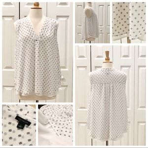Ann Taylor 2Layered White Print Pleat Front Top